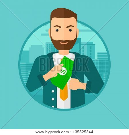 A hipster man with the beard putting money in his pocket on a city background. Vector flat design illustration in the circle isolated on background.