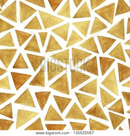 Seamless pattern with hand drawn gold triangles. Hand painted ornament for wrapping paper. Modern triangles elements. Ink illustration. Hand drawn shiny pattern.