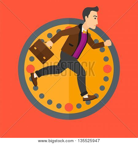 A man with suitcase running on a background of clock. Vector flat design illustration in the circle isolated on background.