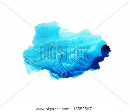 Blue sky watercolor background. Imitation of water sky and ocean. Ink illustration. Isolated on white background. Hand drawn watercolor frame. Monotype effect.