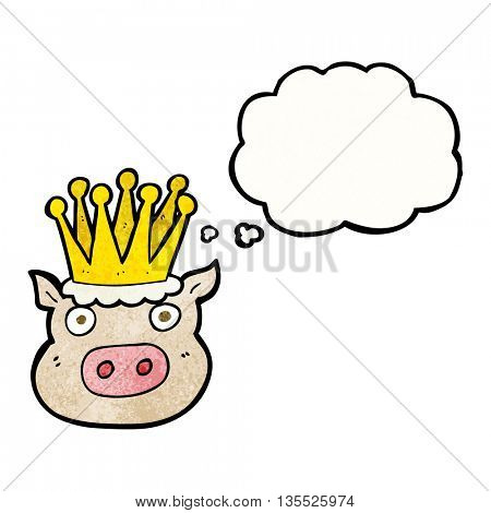 freehand drawn thought bubble textured cartoon crowned pig