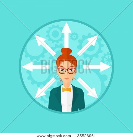 A woman with many arrows around her head. Vector flat design illustration in the circle isolated on background.