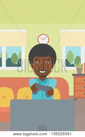 An enthusiastic african-american man sitting on a sofa with gamepad in hands in living room vector flat design illustration. Vertical layout.