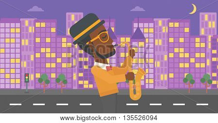 An african-american man playing saxophone on a night city background vector flat design illustration. Horizontal layout.