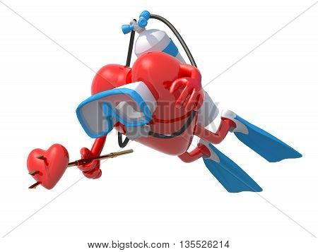 Heart With Diving Goggles, Flippers And Trident