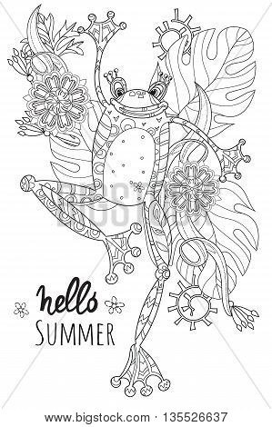 Cute Frog Prince in summer flowers.Vector illustration zen art isolated ready for coloring book.