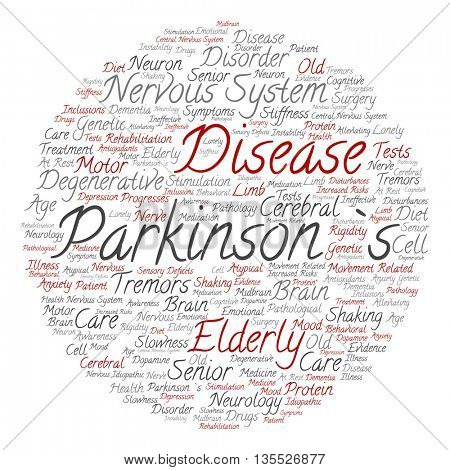 Concept conceptual Parkinson`s disease healthcare or nervous system disorder abstract round word cloud isolated on background
