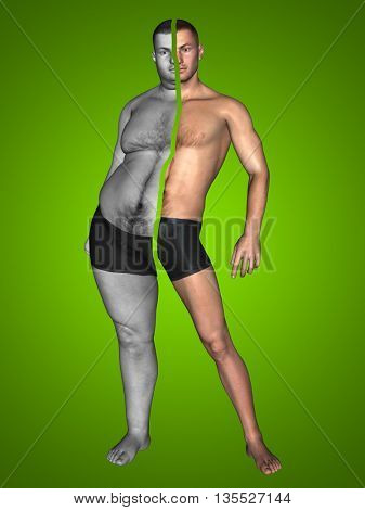 Concept or conceptual 3D fat overweight vs slim fit with muscles young man on diet on green background metaphor weight loss, body, fitness, obesity, health, healthy, male, dieting or shape