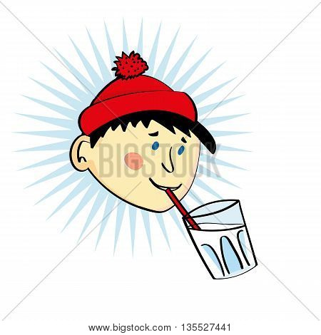 Head of a boy or young man in a red wool cap drinking from a glass of milk with a straw