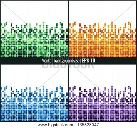 Abstract Square Pixel Mosaic Background Set. Vector