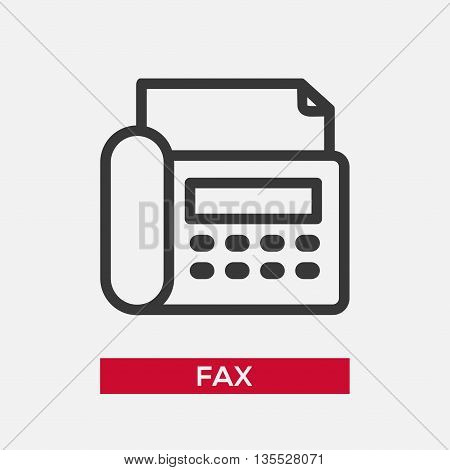 Telephone fax single isolated modern vector line design icon with a fax device