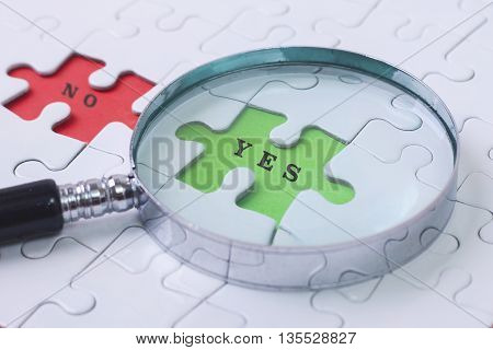 YES and NO puzzle with magnifier glass