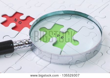 +VE and NO puzzle with magnifier glass