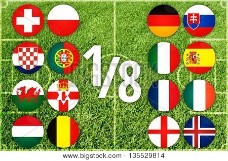 Euro country flags team icon on green grass background