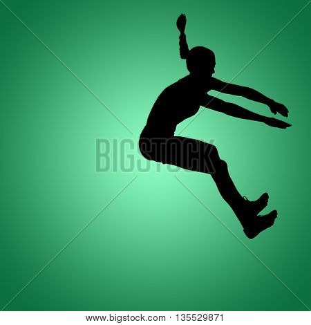 Sportswoman jumping on a white background against green vignette