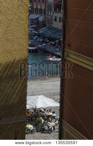 Portofino Italy - May 29 2015: The porticciolo of Portofino from hidden corner