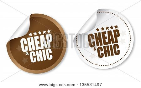 Cheap and Chic on white and brown stickers