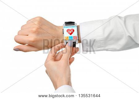 Hands with heart icon on smart watch isolated on white