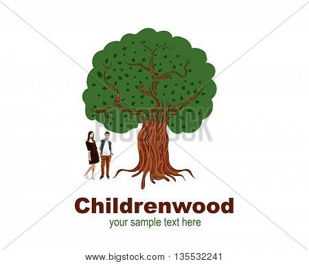 Beautiful schoolgirl and cute boy near drawn tree with text Childrenwood