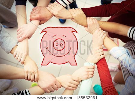 Group of people hands together and virtual piggy bank