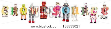 the word crowdfunding wit retro robot toys