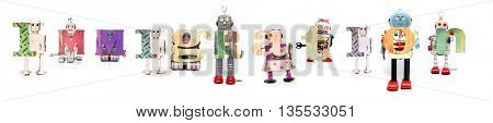 the word immigtation with rero toy robots