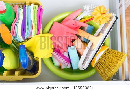 House Cleaning Equipment Storing Concept