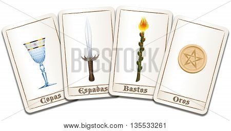 Tarot cards - SPANISH LABELING: cups, swords, wands, pentacles. Isolated vector illustration on white background.