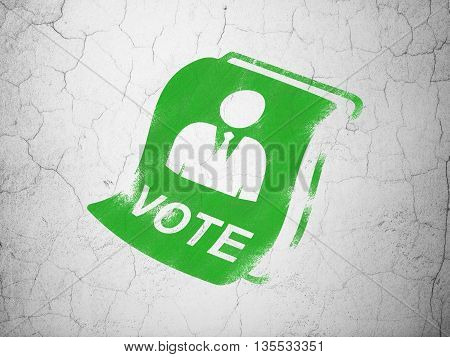 Politics concept: Green Ballot on textured concrete wall background