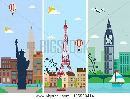 Cities skylines design with landmarks. London Paris and New York cities skylines design with landmarks. Flat landscapes. Vector illustration
