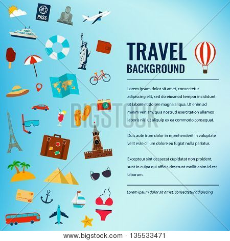 Travel and tourism concept. Travel background. Vector illustration