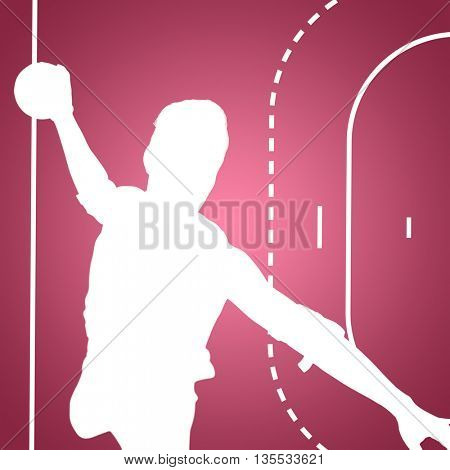 Confident athlete man throwing a ball against red vignette