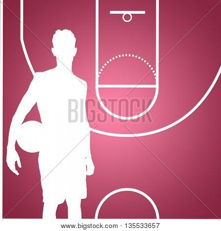 Sportsman holding a basketball against red vignette