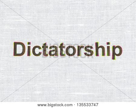 Politics concept: CMYK Dictatorship on linen fabric texture background