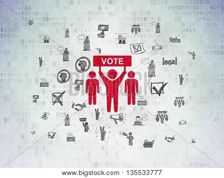 Politics concept: Painted red Election Campaign icon on Digital Data Paper background with  Hand Drawn Politics Icons