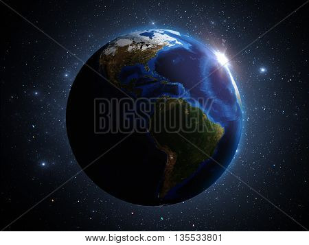 Planet Earth In Outer Space 3D Illustration