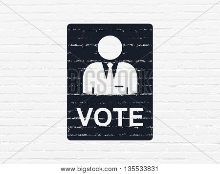 Politics concept: Painted black Ballot icon on White Brick wall background