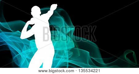 Front view of sportsman practising shot put against different black silhouette