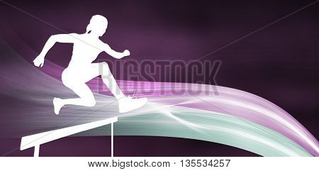 Sporty woman jumping a hurdle against different black silhouette