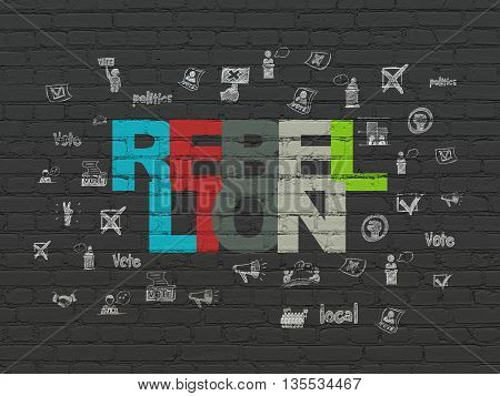 Politics concept: Painted multicolor text Rebellion on Black Brick wall background with  Hand Drawn Politics Icons