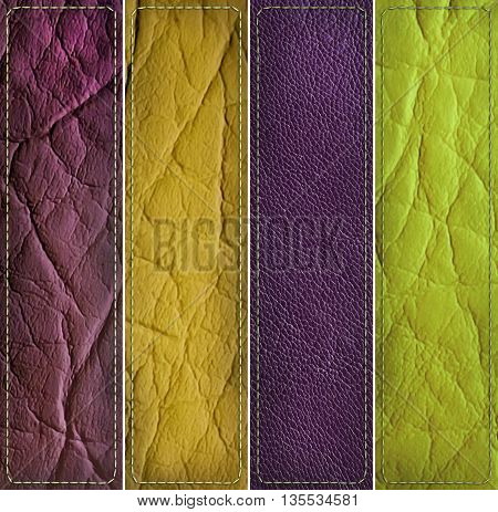 leather banner set, yellow, brown, green and violet