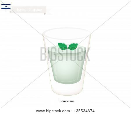 Israeli Cuisine Lemonana or Traditional Squeezed Lemon Juice and Spearmint Leaves. One of The Most Popular Drink in Israeli.