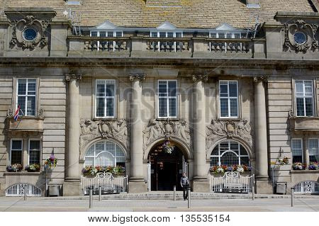 CREWE, UK - JUNE 23, 2016: Crewe town hall / municipal building, Crewe, Cheshire, UK