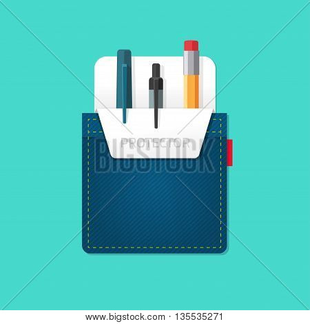 Pocket jeans with denim pocket protector with pens, pencils flat modern symbol, abstract bag, stationery shop emblem concept, office supplies, design vector illustration isolated on green background