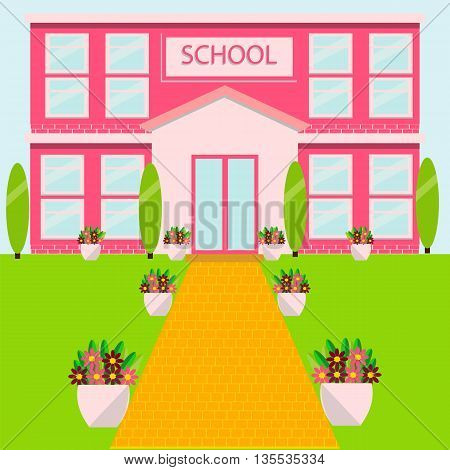 The school building, school yard, plants, vector illustration, flat style