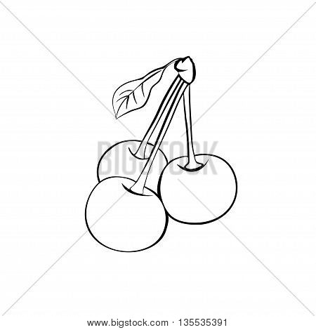 Vector monochrome illustration of three ripe cherries with leaf