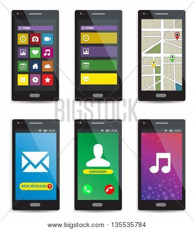 Set of modern touchscreen smartphones with applications on screens isolated on white background