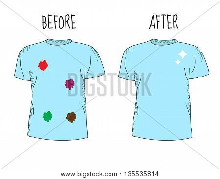 Dirty and clean t-shirt. Befor cleaning and after cleaning t-shirt. Different types of stains. Whitening clothes. Vector illustration