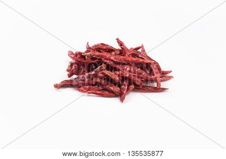 closeup dry red chilli dry red chillie dry red chili dry red pepper isolated on white background.