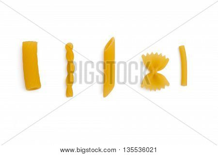 selection of pasta, isolated on white background: rigatoni, gemelli, penne, farfalle and maccheroni